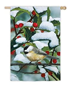 """Earth Toned Bird Perched on a Holly Berry Tree Christmas Flag 43"""" x 29"""""""