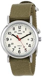 Timex Women's T2P2289J Weekender Olive Slip-Thru Nylon Strap Watch