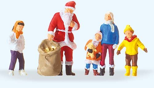 SANTA CLAUS WITH CHILDREN - PREISER HO SCALE MODEL TRAIN FIGURES 29098