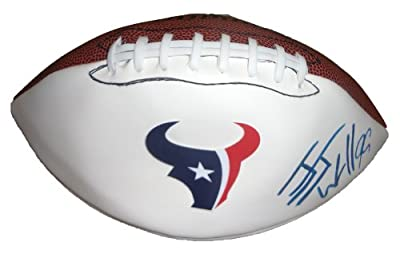 JJ Watt Autographed Houston Texans Logo Football W/PROOF, Picture of JJ Signing For Us, Houston Texans, Wisconsin Badgers, Pro Bowl