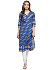 Blue Cotton Printed Kurta By Magnetic Designs