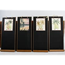 Skinny (14 X 6) Chalkboards with Exotic Tropical Palm Tree Designs - Set of 4 Chalkboards for Wedding Signs or Tropical Decorating - Assorted Designs
