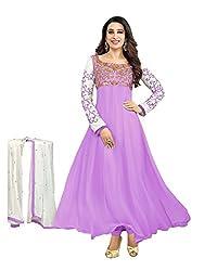 RR FASHION WOMENS GEORGETTE ANARKALI DRESS MATERIAL(A5010_PURPLE)