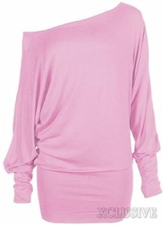 nouvelles dames plus la taille de l'épaule ample chauve-souris à long empoté manches robe top (36/38, Baby Pink)