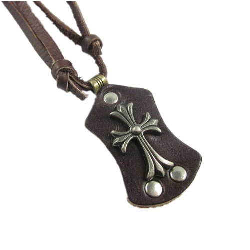 Jirong Punk Brown genuine leather and Alloy Pendant Adiustable Unisex Fashion Necklace Pl0406