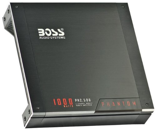 Boss Audio Ph2.500 Phantom 1000-Watts Full Range Class A/B 2 Channel 2-8 Ohm Stable Amplifier With Remote Subwoofer Level Control