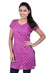 Kala Sanskruti Women's Cotton Silk Purple Kurti