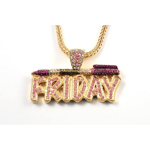 NICKI MINAJs Barbie Pink Friday Charm Pendant w/ Franco Chain SM Gold/Pink