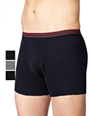 3 Pack Cool & Fresh™ Pure Cotton Striped Waistband Trunks with StayNEW™