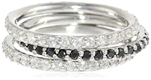 Sterling Silver Clear and Black Cubic-Zirconia Thin Band Three Stackable Ring Set, Size 6