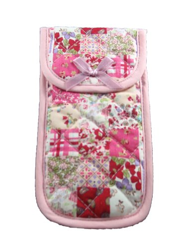 "Fabric Eyeglass Case Holder With Velcro Closure, Size 3.5"" X 6.7"" Flower Print, Pink Shade Color front-500955"
