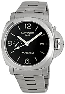 Panerai Men's PAM00329 Steel Luminor 1950 GMT Black Dial Watch