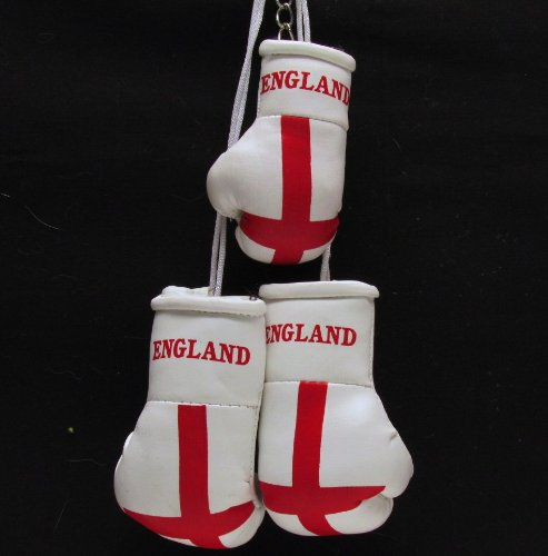 MINI BOXING GLOVES FOR CAR ST GEORGE ENGLAND + KEY RING
