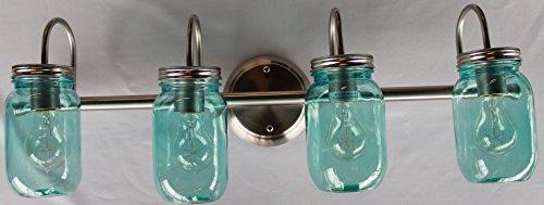 Mason Jar Lighting, 4 light brushed nickel vanity light with blue mason jar glass (Mason Jar Bathroom Lighting compare prices)