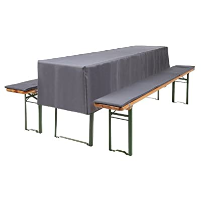 3-tlg Bierzeltgarnitur Auflagen Set inkl. Tischdecke für 50cm Tische Farbe: Anthrazit / grau von Beautissu auf Gartenmöbel von Du und Dein Garten