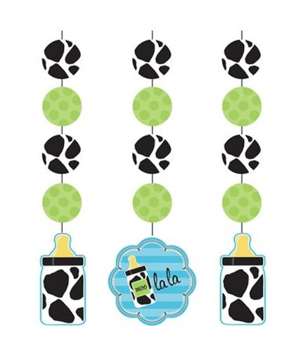 Creative Converting Baby Boy Cow Print Hanging Cutout Party Decorations, 3-Count