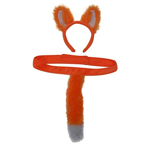 Kids Plush Orange Fox Headband Ears & Tails Costume Set