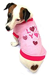 """LOVE YOU"" logo Dog T-Shirt, two shades of pink with pink glitter hearts - size 14"" from Dogs & Co."