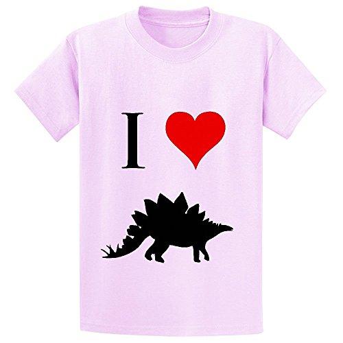 Chas I Love Dinosaurs Stegosaurus Girls Crew Neck Graphic T Shirts Pink