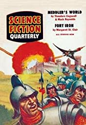 30 x 20 Stretched Canvas Poster Science Fiction Quarterly: Spaceship Attack on Medieval Fortress