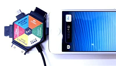 MOVEON(ムーブオン) 高品質 充電用 5in1コネクター for Docomo FOMA / SoftBank 3G / au 3G / マイクロUSB / iPhone / iPhone5,5s,5C ブラック