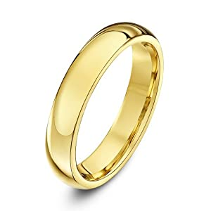 Theia 9ct Yellow Gold - Super Heavy Court Shape - Highly Polished - 4mm Wedding Ring for Men or Women - Size N