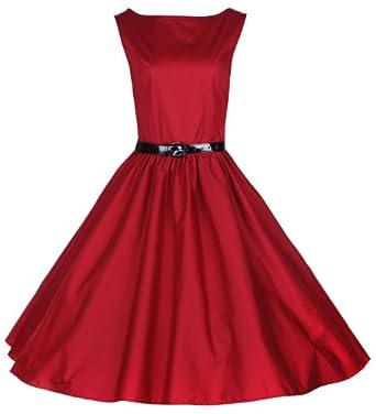 Lindy Bop Classy Vintage Audrey Hepburn Style 1950's Rockabilly Swing Evening Dress (XS, Red)