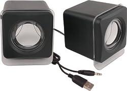 Speed Wired Multimedia E02 USB 2.0 Mini Speaker Portable Laptop/Desktop Speaker (Black, 2.0 Channel)