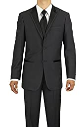 Marzzotti Eleganz Men\'s Two Button Modern Fit Tuxedo Suit (46 Long US / 56 Long EU, Charcoal)