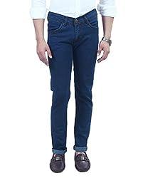 ManQ Blue Lycra Slim Fit Men's Jeans - 3 Colors
