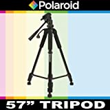 Polaroid 145 cm Photo / Video Tripod Includes Deluxe Tripod Carrying Case For The Samsung SMX-F43, F44, F40, F54, F50, F53, H204, H200, H203, H205, H300, H303, H304, H305, Q10, P300, P100, K45, S10, S16, S16 Camcorder