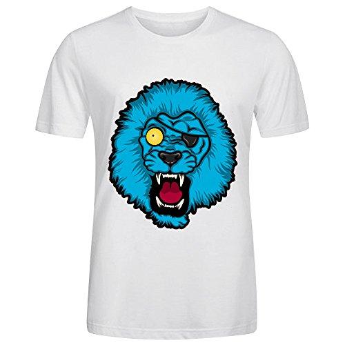 Irregular Crew Neck Running T-shirt-Crazy Eyed Lion White