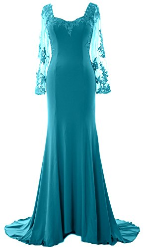 MACloth Donna Mermaid abito da sera maglia a maniche lunghe pizzo formale Prom Dress Teal 64