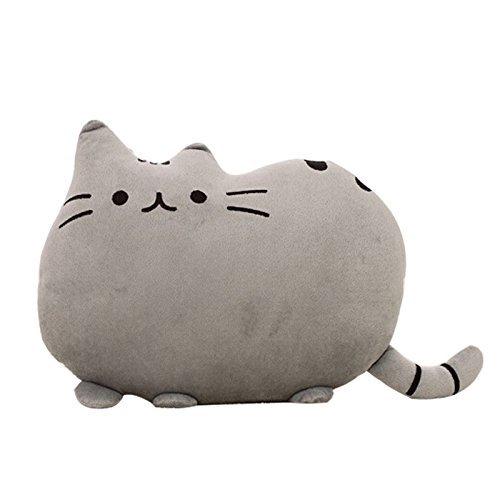 Cuscino a forma di gatto, per divano, morbido peluche, 38,10 cm, 1 pezzo, colore: grigio