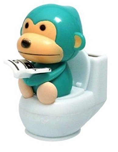 A Blue Monkey Reading on Toilet Bowl Solar Toy Car Dashboard Office Desk Display Home Decor Birthday Holiday Gift US Seller - 1