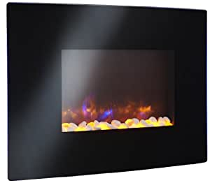 "GreatCo 36"" Gallery Radius Linear Electric LED Fireplace.  Black Wall Mounted Fireplace Includes Heater, IR Remote, 6 ft Cord  Stonefire Media"