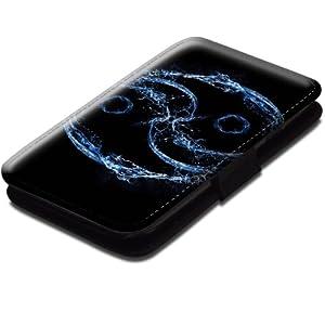 Abstrait 10035, Yin Yang, Etui Personnalisé Coque Housse Cover Coquille en Cuir Noir avec Dessin Coloré pour Samsung Galaxy S3 i8190 Mini.
