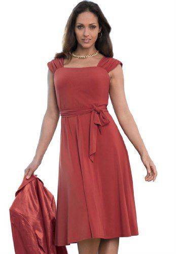 Jessica London Womens Plus Size Square Neck Fit And Flare Dress Red