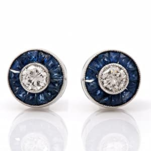 Estate Diamond Sapphire Platinum Stud Earrings
