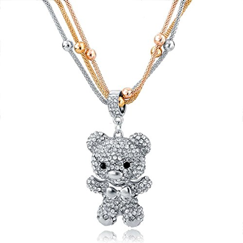 Choker ® Bear Pendant Rose Gold Silver Plated Cute Long Chain Full Crystal Rhinestone Necklace for Women Teen Girls (Charming Charlie compare prices)