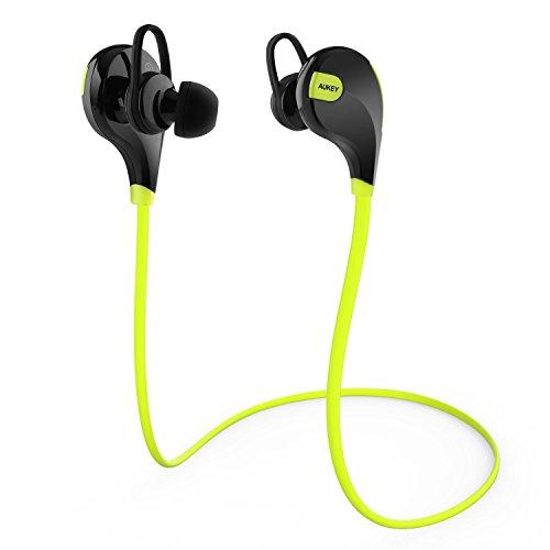 AUKEY Auriculares deportivos Bluetooth 4.1 estéreo para correr y gimnasio headphone weirless casco Resistente al Sudor para iPhone, iPad, Samsung, PC y Otros Teléfonos Inteligentes ( EP - B4 Verde )