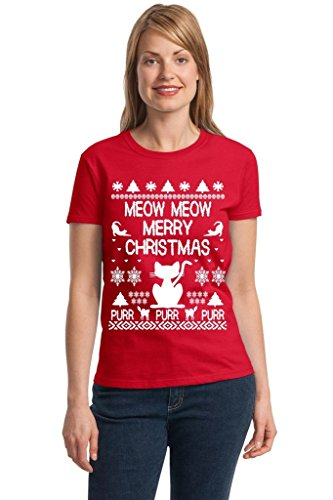 P&B Ugly Christmas Meow Cat Women's T-shirt , 3XL, Red