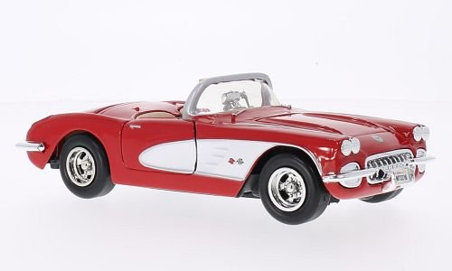 chevrolet-corvette-c1-rot-weiss-1959-modellauto-fertigmodell-motormax-124