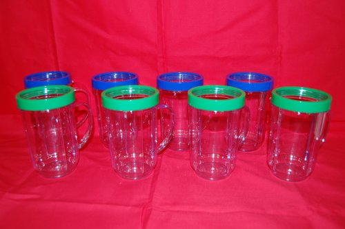 NEW 8 PARTY CUPS MAGIC BULLET MUGS JUICER BLENDER ORIGINAL GENUINE 4GREEN 4BLUE (Magic Bullet Tall Mug compare prices)