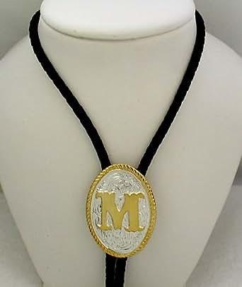 """Amazon.com: Silver/Gold Plated Monogram Letter """"M"""" Bolo"""