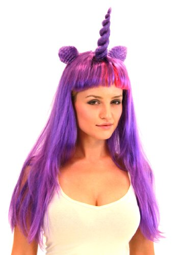 Deluxe Unicorn Costume Wig With Ears Adult: Purple/Magic