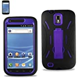 SODIAL(TM) Purple/Black Premium Heavy Duty Hybrid Case For Samsung Galaxy S2 Hercules (Model T989) (Outer Silicone + Durable Thick Inner Hard Protector Shell Case W/Kickstand)