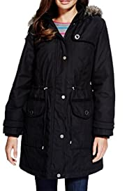Per Una Detachable Hood Faux Fur Trim Thermal Parka with Stormwear [T62-4022J-S]