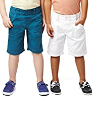 2 Pack Pure Cotton Elasticated Waistband Chino Shorts