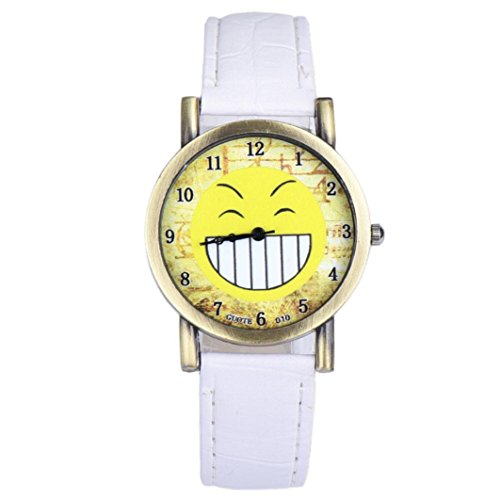 Emoji Watch , Creazy Fashion Lover Leather Quartz Analog Wrist Watch (45WH)